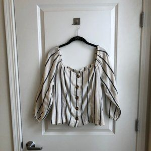 Stripped Button- Up Peasant Blouse!